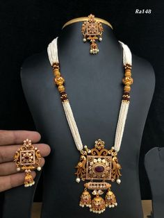 Temple jewellery available at Ankh Jewellery  For booking WhatsApp on  +91 9619291911....