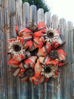 Deco Mesh Fall Burlap Wreath Brown Orange Tan Burlap Ribbon Burlap Flowers Holiday Decor on Etsy, $120.00