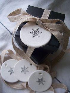 Sweet snowflake clay tags: Marley & Lockyer/Etsy