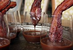 Seriously they are dipping bacon, why have I never thought of that. Vosges Gourmet Chocolate Recipe - Maple Chocolate Pudding with Bacon Spoon