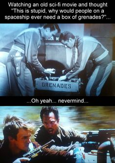 This is stupid... why would people on a spaceship need a box of grenades? - Imgur