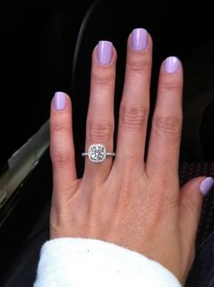 Floating Square Ring Princess Cut Diamond Halo Ring With White Diamonds In 14k White Gold