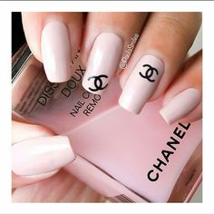 Chanel Nails - cute idea to put a decal at the corner