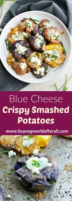 Crispy smashed potatoes are an easy vegetarian side dish. They pair well with almost any meal! This version features crumbled blue cheese and fresh chives. #smashedpotatoes #bluecheese #sidedishes Healthy Vegetable Recipes, Vegetable Side Dishes, Vegetarian Recipes, Vegetarian Comfort Food, Healthy Comfort Food, Smashed Potatoes Recipe, Tailgating Recipes, Fresh Chives, Game Day Food