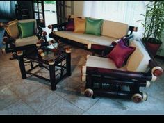 Bamboo Living Room furniture in Costa Rica Bamboo Furniture, Outdoor Furniture Sets, Outdoor Decor, Bamboo Architecture, Beaded Jewelry Patterns, Diy Table, Costa Rica, Living Room Furniture, Couch