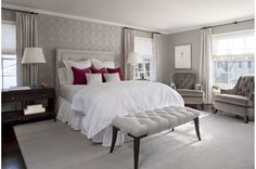 Gray Bedroom.  Wine Accent-Marianne Jones