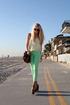 want mint green pants so badly.