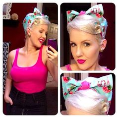 Vintage Inspired Reversible Head Scarf Hot Pink by OhHoneyHush, $12.99
