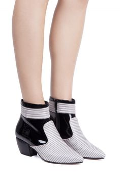 Jeffrey Campbell Shoes JAVIER Booties in Grey Black Patent Combo