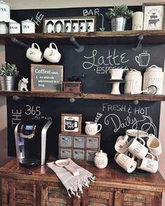 Trendy home kitchen bar coffee area Ideas Coffee Bar Design, Coffee Bar Home, Bar Lounge, Kitchen Bar Decor, Kitchen Ideas, Kitchen Design, Coin Café, Coffee Area, Coffee Coffee