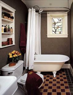 Though its size didn't change, this pleasant room in Massachusetts has been reconfigured; the tub was turned and the window, fitted with period trim and stained glass, has been moved away from the corner. Photo by Greg Premru.
