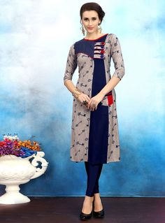 Gray Rayon Readymade Kurti 119197 Churidar Designs, Kurti Neck Designs, Kurta Designs Women, Dress Neck Designs, Blouse Designs, Kurta Patterns, Dress Patterns, Simple Pakistani Dresses, Kurti Sleeves Design