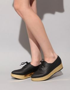 "Jeffrey Campbell #black #leather pointed lace up #shoes with 1.5"" covered #gold foil #platform - $209.00"
