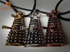 Super cute Dalek-inspired necklaces exclusive to Geek is a Verb Fandom Jewelry, Geek Jewelry, Jewellery, Doctor Who Dalek, Tv Doctors, Things To Buy, Stuff To Buy, Torchwood, David Tennant