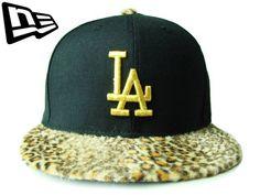 """【ニューエラ】【NEW ERA】SNAPBACK LOS ANGELES DODGERS """"LA"""" レオパード・ファー ブラックXゴールド【スナップバック】【ロサンゼルス・ドジャース】【newera】【帽子】【GOLD】【LA】【黒】【ヒョウ柄】【cap】【豹柄】【あす楽】【楽天市場】"""