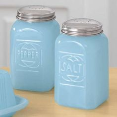 Milk Opaque Blue Glass Salt and Pepper Shakers Depression Style Free Shipping
