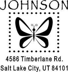 Dot Border Butterfly Return Address Stamp image