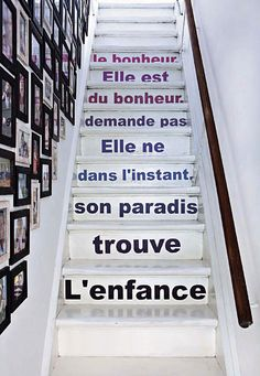 French phrases on staircase