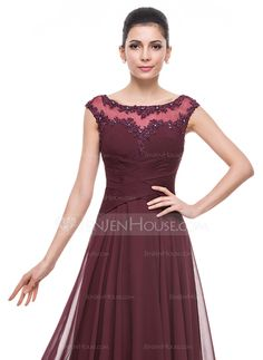 A-Line/Princess Scoop Neck Floor-Length Chiffon Tulle Mother of the Bride Dress With Ruffle Beading Appliques Lace Sequins (008058391)