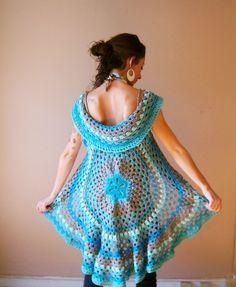 Crochet Mandala Vest / / handmade knit circle vest by OliviaRoyale Moda Crochet, Diy Crochet, Crochet Top, Crochet Jacket, Crochet Shawl, Crochet Capas, Crochet Circles, Crochet Woman, Crochet Fashion