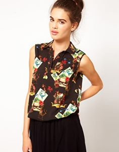 River Island Chelsea Girl Playing Card Print Shirt (£15)