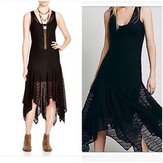 Free People Lace Maxi Cape Slip Dress Shirtdress Incredible black  free people lace dress with handkerchief hemline . You can wear a fitted tank slip underneath which is not included. Stretch fabric beautiful lace details and design nwt A line Embellished Shirt dress Free People Dresses Maxi