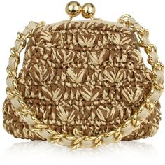 Forzieri Capaf Line Woven Straw & Leather Clutch Bag w/Chain strap ($343) ❤ liked on Polyvore
