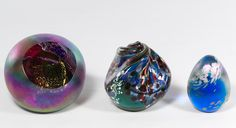 Lot 390: Art Glass Paperweights; c.1995, three paperweights having etched signatures to the underside