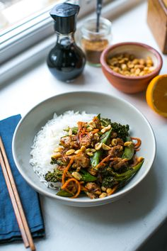 Orange & Five Spice Sticky Chicken Stir Fry | DonalSkehan.com, A quick cook stir-fry packed with chicken, veggies and a sweet & sticky orange sauce.