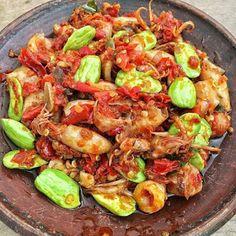 Sambel Cumi Pete - Berbagi Resep Prawn Recipes, Chilli Recipes, Seafood Recipes, Asian Recipes, Healthy Recipes, Ethnic Recipes, Clean Eating Recipes, Cooking Recipes, Snap Food