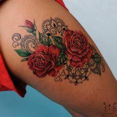 Roses mandala mehndi flower tattoo. Tattoo artist Irene Bogachuk. #IB_TATTOOING @irenebogachuk