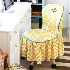 Great Office Chair Slipcover Tutorial And Slipcover Tips | Chair Slipcovers,  Rolling Office Chair And Tutorials