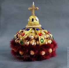 """Купить Подарок из конфет Шапка Мономаха """"Царский"""" - золотой, букет из конфет, букет из конфет на заказ"""