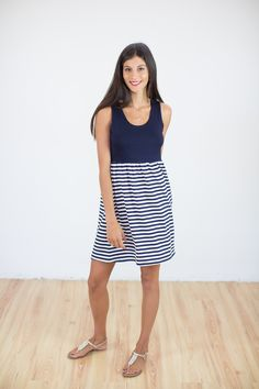 DRESS INDIGO BLUE STRIPED Stripe Skirt, Indigo Blue, Navy Stripes, Bodice, Explore, Elegant, Casual, Skirts, Cute