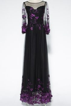 Voile Spliced Bell Sleeve Floral Embroidery Maxi Dress