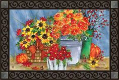 Show the fall season colors to your visitors as they step up to your door. This Mum's the Word decorative door mat will be an eye catching outdoor home decor decoration. Its' bright colors and stunning beauty will make a great addition to your home decor whether you use it as an indoor  door mat or an outdoor door mat. This unique doormat is made with a recycled rubber back so that it is slip resistant,  environmentally friendly. Shown paired with our Scroll Design Tray.