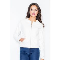 Jacket with zipper fastening (200 AED) via Polyvore featuring outerwear, jackets, zipper jacket, white leather jacket, white zip jacket, 100 leather jacket and white jacket