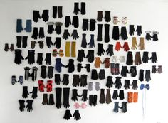 Lost Glove, 62 single gloves found in Paris from October 2008- March 2009, The pair is completed with gouache on paper, Young Curators, New Ideas II: The Individual & The Family curated by Jose Ruiz, organized by amani olu in collaboration with P.P.O.W, 2009.
