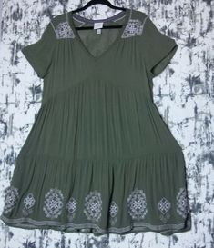 54e87042bdb2 Knox Rose Dress Women s XL Olive White Embroidery Boho Vneck Short Sleeve   939  fashion  clothing  shoes  accessories  womensclothing  dresses (ebay  link)
