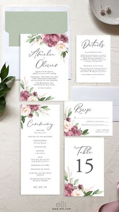 Mauve and blush floral wedding invitation with gorgeous typography. Best Picture For Floral Wedding vector For Your TasteYou are looking for something, and it is going to tell you Colorful Wedding Invitations, Rustic Invitations, Wedding Invitation Wording, Floral Invitation, Wedding Stationery, Event Invitations, Wedding Invitation Inspiration, Watercolor Wedding Invitations, Invitation Ideas