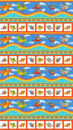 Baby Zoom Border - Baby Zoom Flying High Collection - Northcott Fabric - 100%…