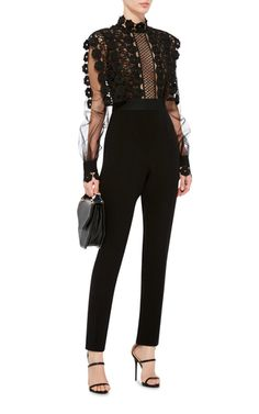 Black Jumpsuit With Lace Overlay by SELF PORTRAIT Now Available on Moda Operandi