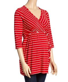 Another great find on #zulily! Red & White Stripe Wrap Maternity Tunic #zulilyfinds