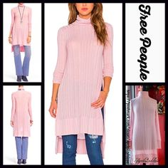 "FREE PEOPLE Tunic Turtleneck Ribbed Blush NEW WITH TAGS ****Model photos utilized in his listing were found on www.Nordstrom.com**** Free People Tunic Turtleneck Sweater  * Oversized body & relaxed silhouette  * Incredibly soft & ribbed fabric  * Side slits, turtleneck, long sleeves  * About 34.5"" long in the front, tunic length w/Hi-Lo hem  * Stretch-to-fit style  Fabric:65% Polyester & 35% Rayon Color:Mauve Pink Item:126500  No Trades ✅Offers Considered*/Bundle Discounts✅ *Please use the…"