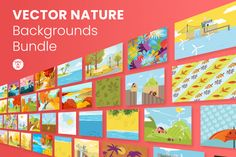 Vector Nature Backgrounds Bundle   GraphicMama Birthday Background, File Organization, Different Seasons, Vector File, Design Bundles, Pin Up, Presentation, Backgrounds, Concept