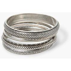 MANGO Metal Bracelet Set (192865 BYR) via Polyvore featuring jewelry, bracelets, mango, silver, metal bangles, metal jewelry and mango jewelry