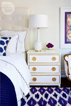 The little details make a difference in this beautiful gold-leafed nightstand.