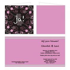Trouwkaart met een sierlijke bloemenrand all-over