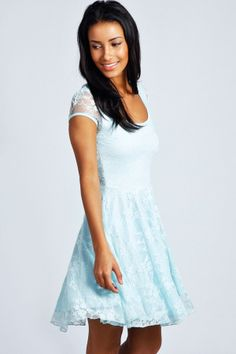 Boohoo Caroline Cap Sleeve Lace Skater Dress on shopstyle.co.uk