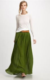 pleated skirt, full sleeve blouse, all cinched in with thick belt.